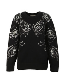 Michael Kors Womens Black Embellished Paisley Top
