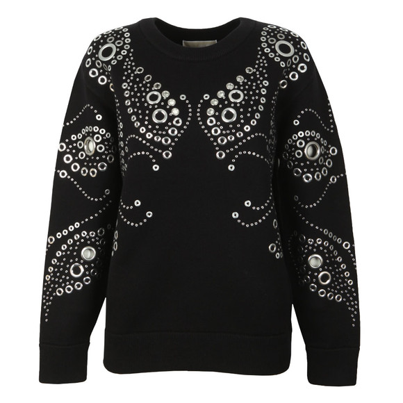 Michael Kors Womens Black Embellished Paisley Top main image
