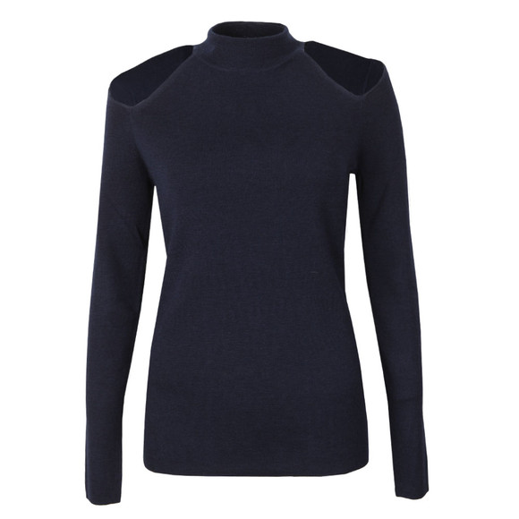 Michael Kors Womens Blue Solid Cut Out Mock Neck Top