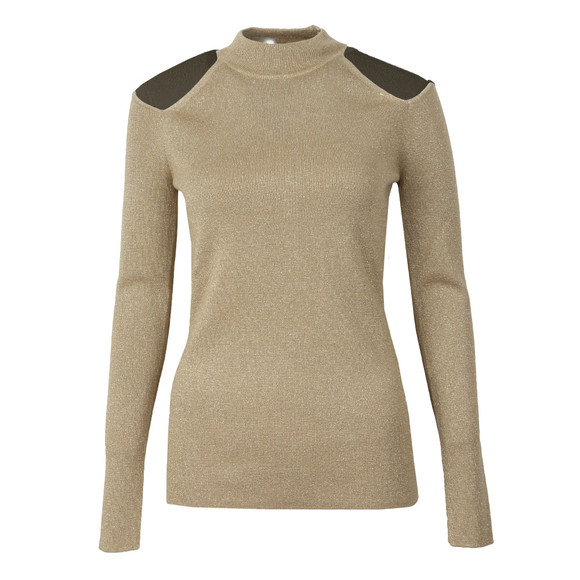 Michael Kors Womens Gold Solid Cut Out Mock Neck Top