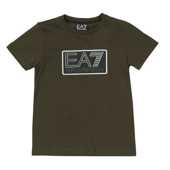 EA7 Emporio Armani Boys Green Boys Box Logo T Shirt main image