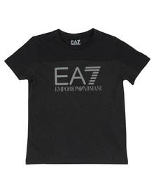 EA7 Emporio Armani Boys Grey 2 Tone Logo T-Shirt
