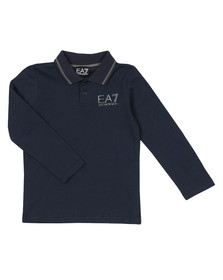EA7 Emporio Armani Boys Blue Tipped Long Sleeve Polo Shirt
