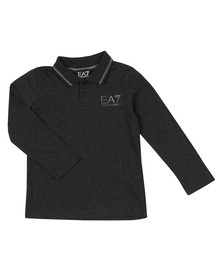 EA7 Emporio Armani Boys Grey Tipped Long Sleeve Polo Shirt