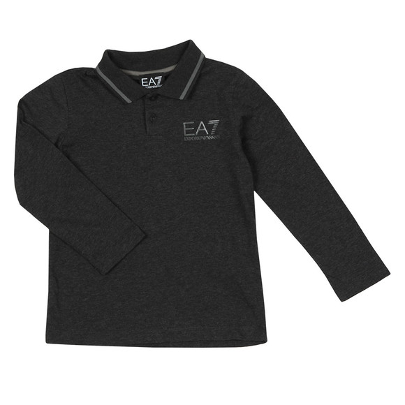EA7 Emporio Armani Boys Grey Tipped Long Sleeve Polo Shirt main image