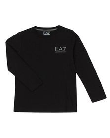 EA7 Emporio Armani Boys Black Small Logo Long Sleeve T Shirt