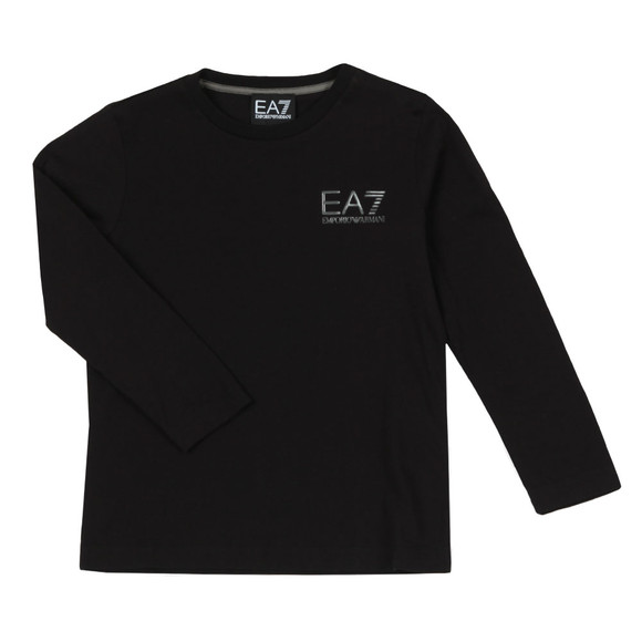 EA7 Emporio Armani Boys Black Small Logo Long Sleeve T Shirt main image