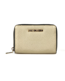 Love Moschino Womens Gold Saffiano Small Purse