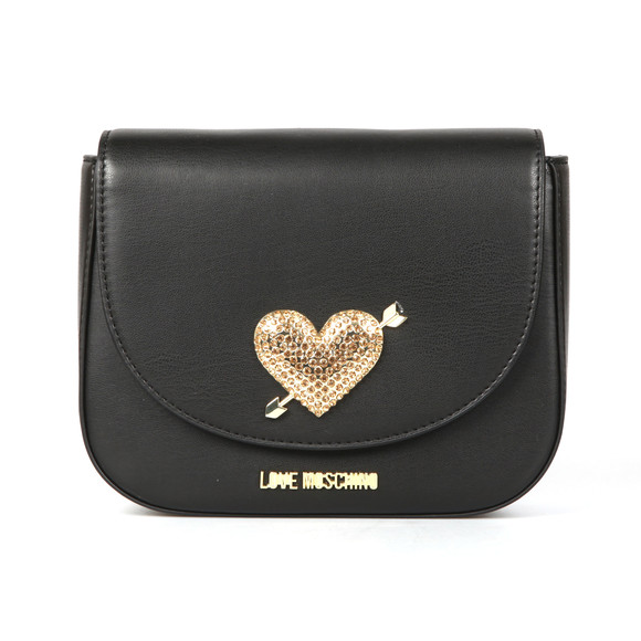 Love Moschino Womens Black Borsa Diamante Heart Bag main image