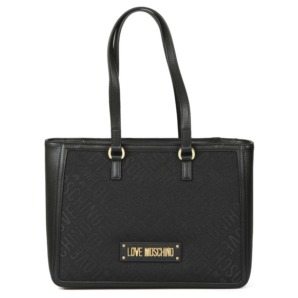 Love Moschino Womens Black Borsa Tess Large Canvas Bag main image