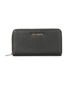 Love Moschino Womens Black Saffiano Zip Purse