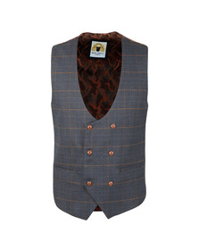 Marc Darcy Mens Blue Jenson Double Breasted Waistcoat