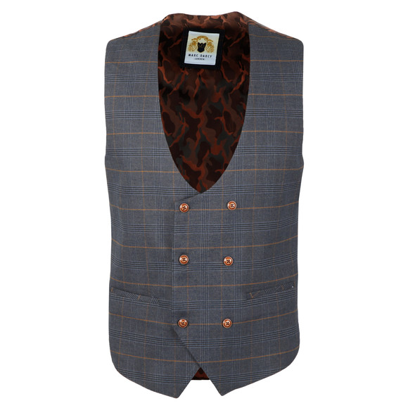 Marc Darcy Mens Blue Jenson Double Breasted Waistcoat main image