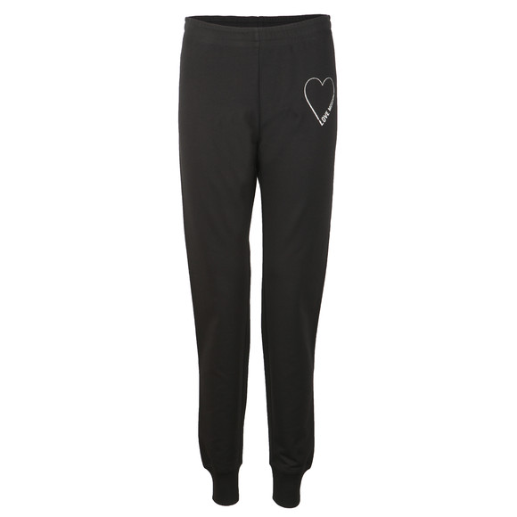 Love Moschino Womens Black Heart Logo Sweatpant