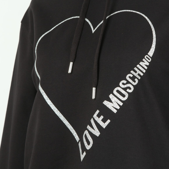 Love Moschino Womens Black Heart Logo Hoody main image