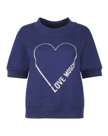 Love Moschino Womens Blue Heart Logo Sweatshirt