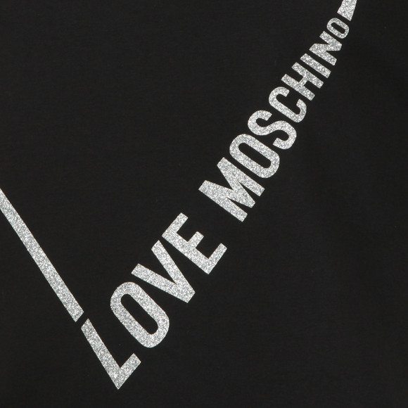 Love Moschino Womens Black Heart Logo Sweat Dress