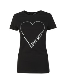 Love Moschino Womens Black Heart Logo T Shirt