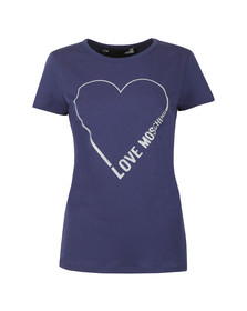 Love Moschino Womens Blue Heart Logo T Shirt