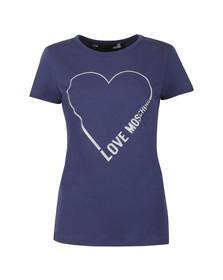 Love Moschino Womens Blue Heart Logo T Shirt