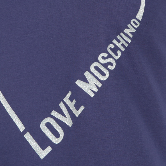 Love Moschino Womens Blue Heart Logo T Shirt main image