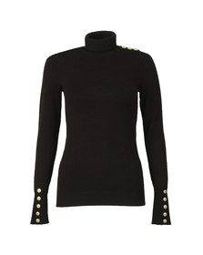 Holland Cooper Womens Black Buttoned Roll Neck Knit