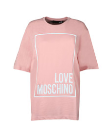 Love Moschino Womens Pink Oversized Box Logo T Shirt
