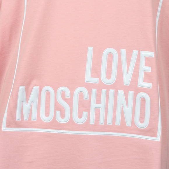 Love Moschino Womens Pink Oversized Box Logo T Shirt main image