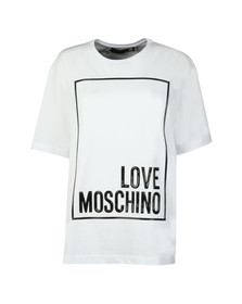Love Moschino Womens White Oversized Box Logo T Shirt