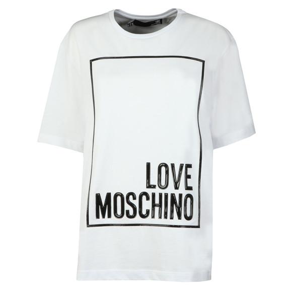 Love Moschino Womens White Oversized Box Logo T Shirt main image
