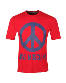 Love Moschino Mens Red Large Peace Logo T Shirt