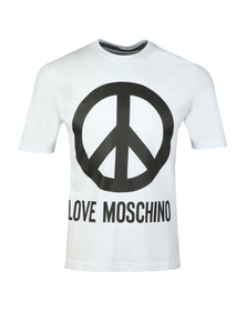 Love Moschino Mens White Large Peace Logo T Shirt