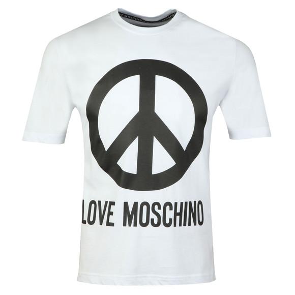 Love Moschino Mens White Large Peace Logo T Shirt main image
