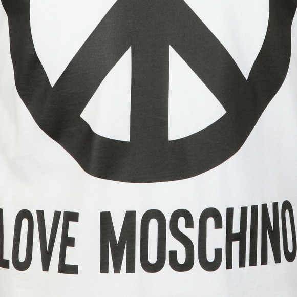 Love Moschino Mens White Large Peace Logo T Shirt main image