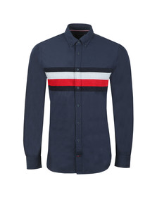 Tommy Hilfiger Mens Blue L/S Chenile Engineered Shirt
