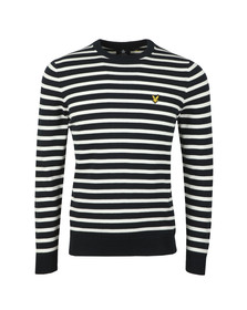 Lyle and Scott Mens Blue Breton Stripe Jumper