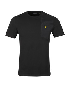 Lyle and Scott Mens Black S/S Fabric Mix Tee
