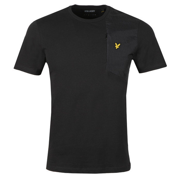Lyle and Scott Mens Black S/S Fabric Mix Tee main image