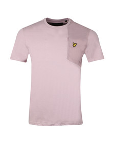 Lyle and Scott Mens Pink S/S Fabric Mix Tee