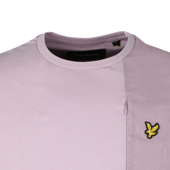 Lyle and Scott Mens Pink S/S Fabric Mix Tee main image