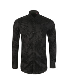 Guide London Mens Black L/S Flower Print Shirt