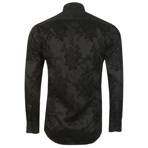 Guide London Mens Black L/S Flower Print Shirt main image