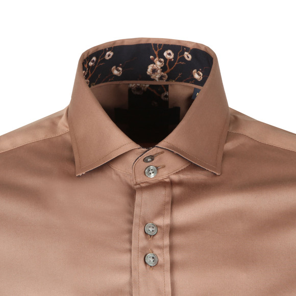 Guide London Mens Brown Plain LS Shirt main image