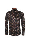 Guide London Mens Black L/S Print Shirt