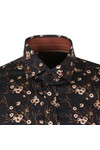Guide London Mens Black L/S Print Shirt