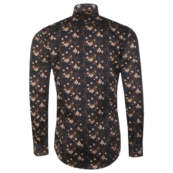 Guide London Mens Black L/S Print Shirt main image