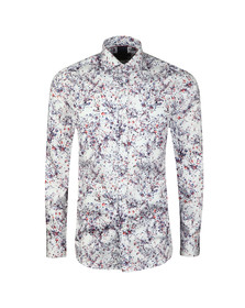 Guide London Mens White L/S Abstract Print Shirt