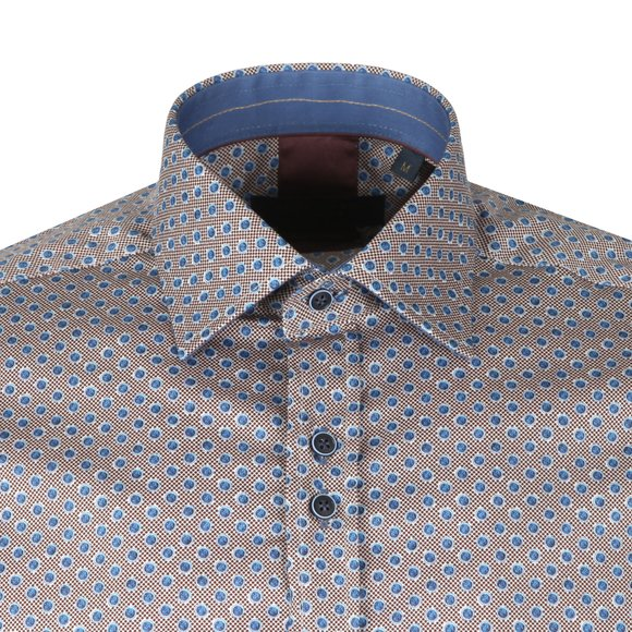 Guide London Mens Blue Polka Dot LS Shirt main image