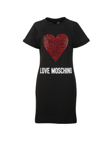 Love Moschino Womens Black Diamante Heart Logo Sweatshirt Dress