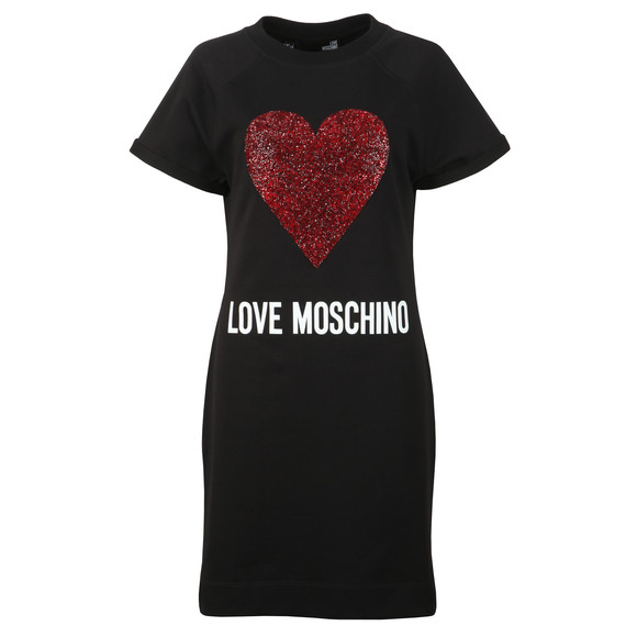 Love Moschino Womens Black Diamante Heart Logo Sweatshirt Dress main image